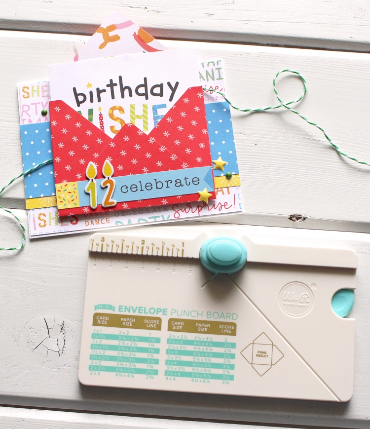 Mini Envelope Punch Board Card by Laura Silva for We R Memory Keepers