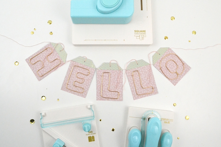 Baby Shower Decor by Aly Dosdall for We R Memory Keepers featuring the Happy Jig, the Square Punch Board, the Staple Board and the Tag Punch Board