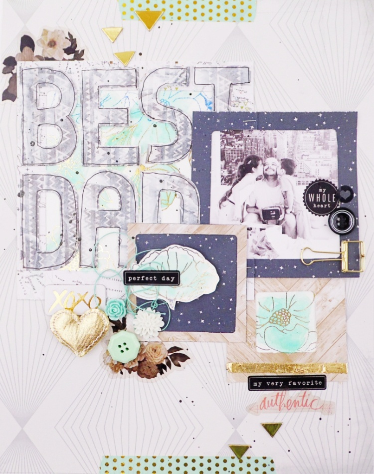 Father's Day Mixed Media Scrapbook Page by Soraya Maes for We R Memory Keepers