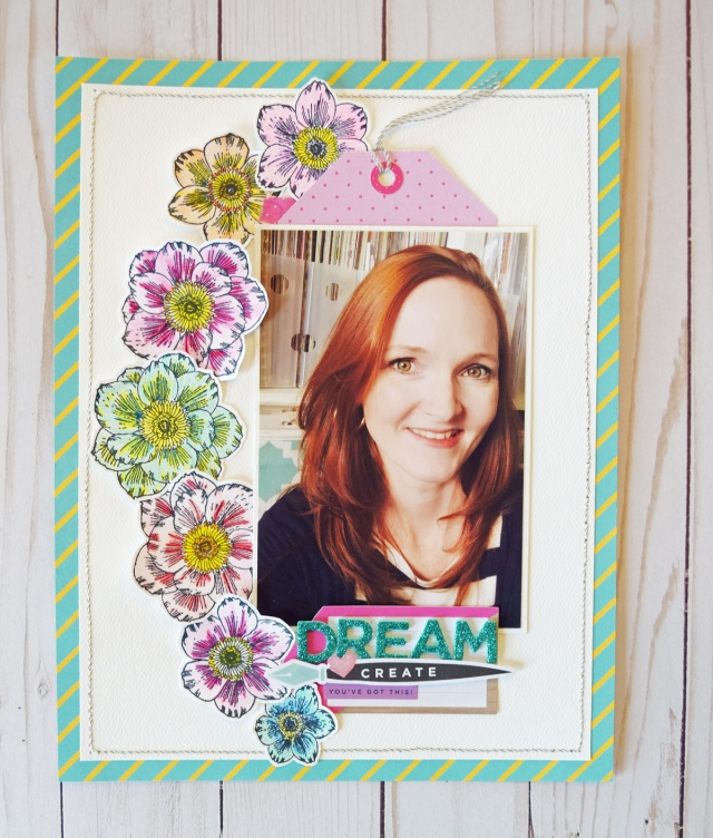 Precision Press Advanced Scrapbook Page by Becki Adams for We R Memory Keepers featuring Vicki Boutin stamps