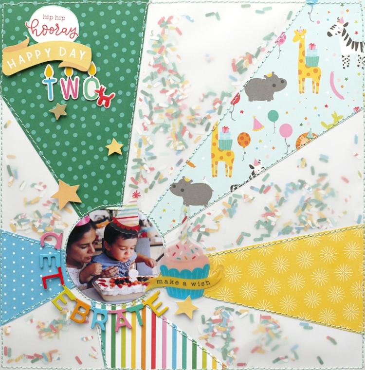 Sprinkle Shaker Pocket Scrapbook Page by Eva Pizarro for We R Memory Keepers