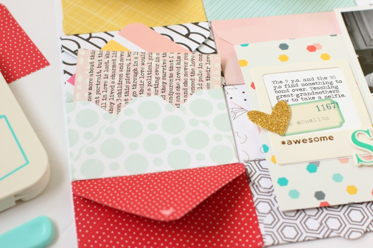 Mini Envelope Punch Board Scrapbook Page by Nancy Damiano for We R Memory Keepers