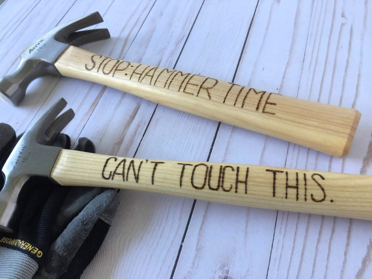 Father's Day Wood Burned Hammers by Aly Dosdall with the USB Power Tools from We R Memory Keepers