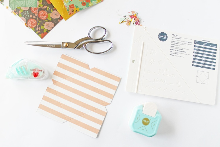 Make mini envelopes with the Mini Score Board and the 3 Way Corner Punch by We R Memory Keepers