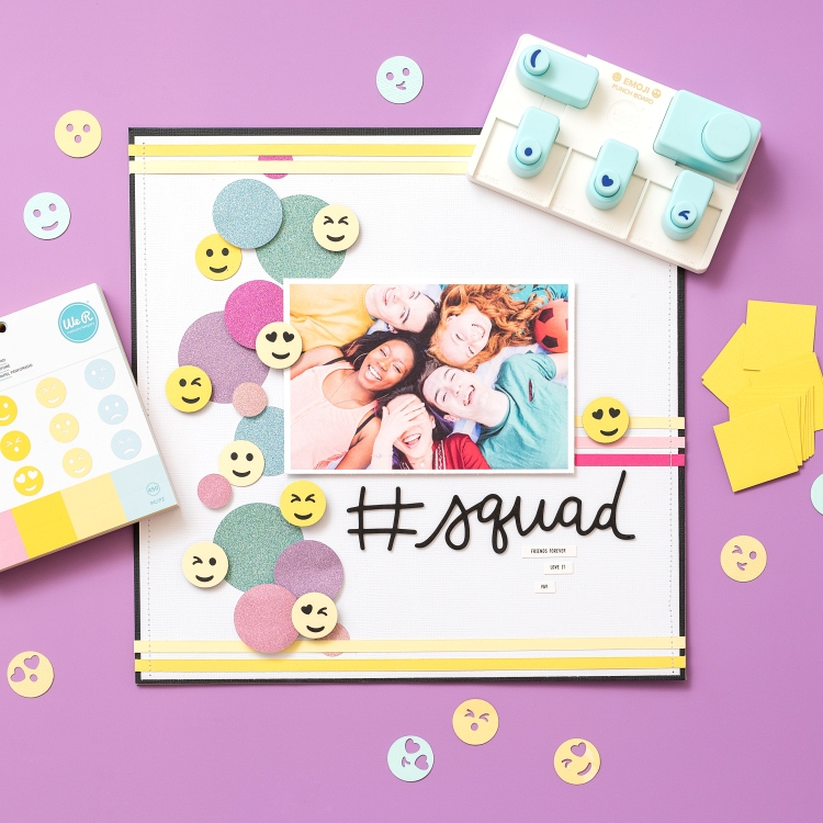 Add DIY accents to your memory keeping projects with the Emoji Punch Board by We R Memory Keepers