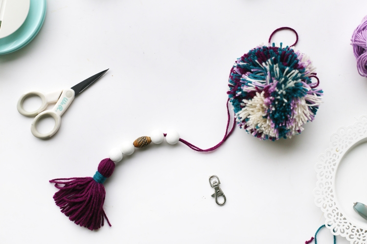 Pom Pom Keychain by Eva Pizarro for We R Memory Keepers