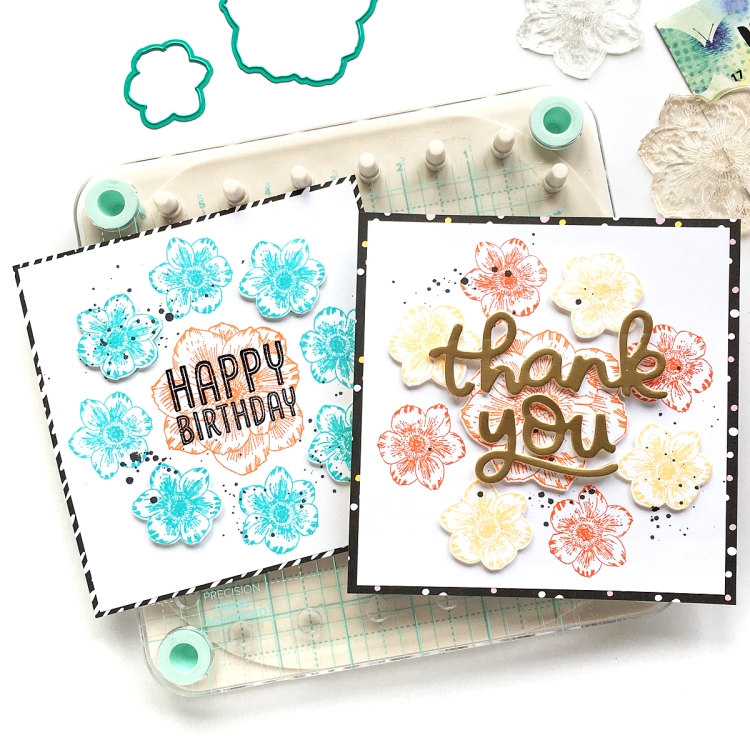 Stamped Card Set by Enza Gudor for We R Memory Keepers featuring the Precision Press Advanced