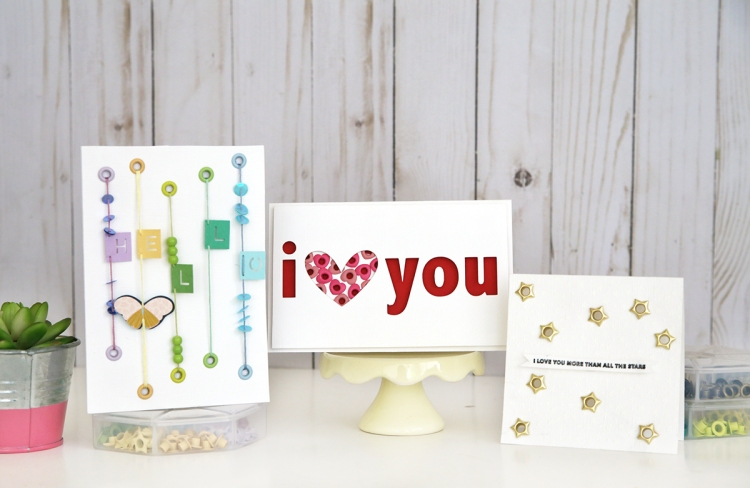 Handmade Cards featuring the Crop-A-Dile and Eyelets by Eva Pizarro for We R Memory Keepers