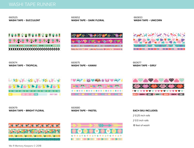 New We R Memory Keepers Washi Tape for use with the Washi Tape Runner
