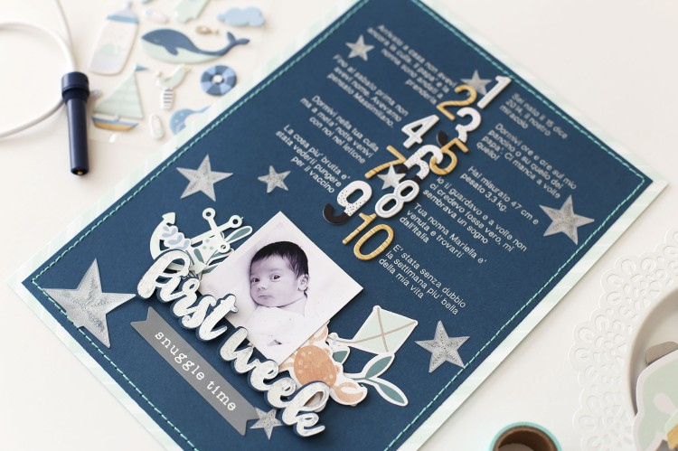 Foil Quill Baby Scrapbook Layout by Eva Pizarro for We R Memory Keepers