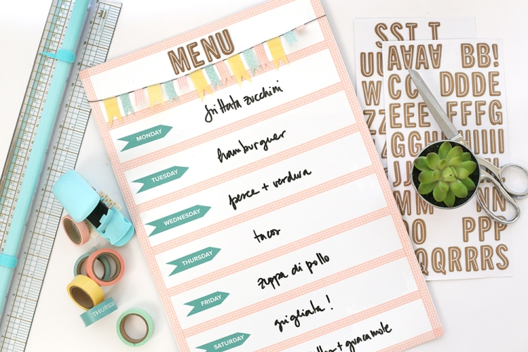 Washi Tape Menu Planner Board by Eva Pizarro for We R Memory Keepers