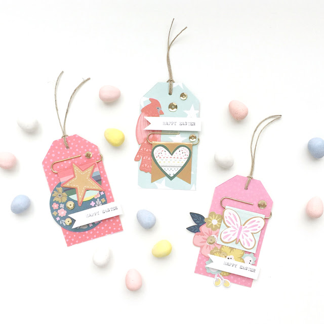 Easy Easter Gift Tags by Aly Dosdall with the Square Punch Board and the Tag Punch Board from We R Memory Keepers