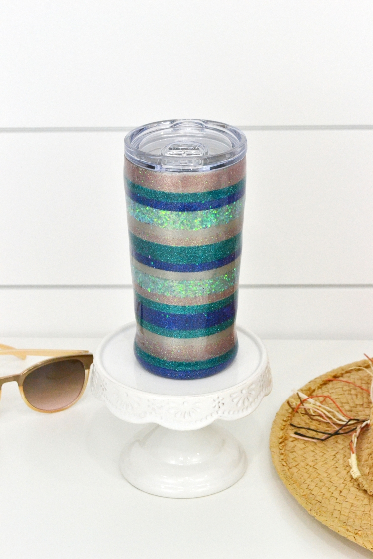 DIY Beach Themed Glitter Tumbler featuring the Spin It tumbler turner by Aly Dosdall for We R Memory Keepers