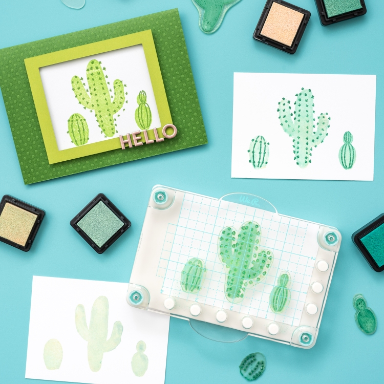 We R Memory Keepers Mini Precision Press layered stamping cactus card