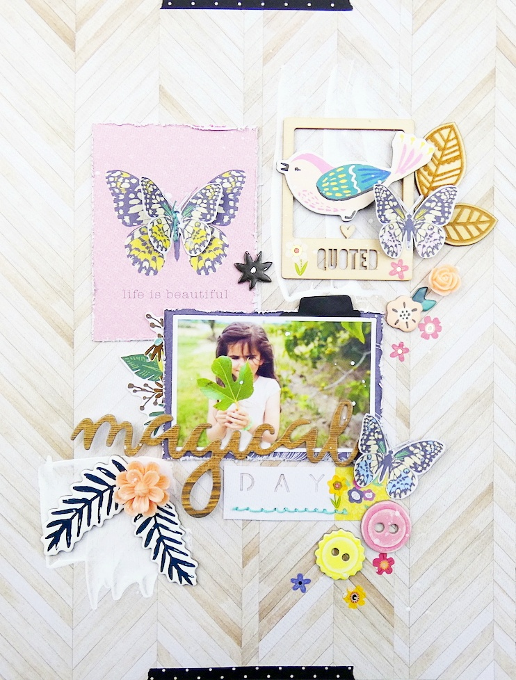 Scrapbook Page by Soraya Maes featuring the Word Punch Board, Stitch Happy Pen, and the Wild & Free Stack by DCWV Inc available at Joann Stores now