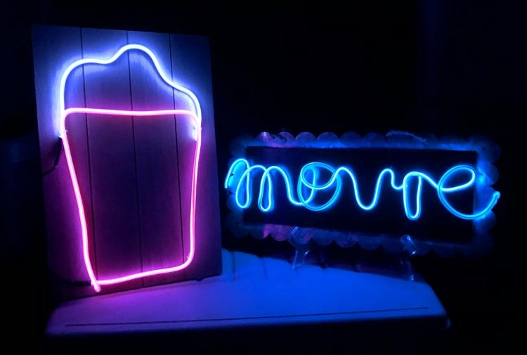 Big Happy Jig neon movie lights Kimberly Crawford