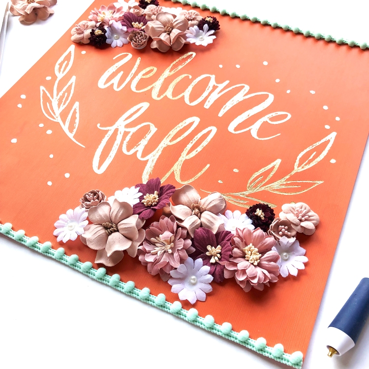 """Welcome Fall"" sign featuring Foil Quill Freestyle Pen by Enza Gudor for We R Memory Keepers"