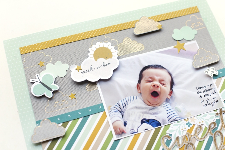 Baby Scrapbook Page by Eva Pizarro featuring the Foil Quill by We R Memory Keepers