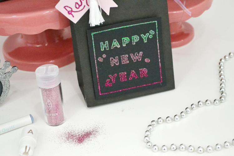 Ombre Glitter New Year's Even Favor Bags with the Glue Quill by Aly Dosdall for We R Memory Keepers